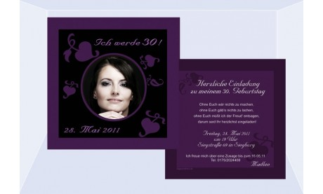 Einladung 30. Geburtstag, Flachkarte 12,5x12,5 cm, schwarz lila