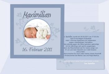 """Babykarte, Danksagung Geburt """"Maximilian"""", zweiseitig Quadrat"""