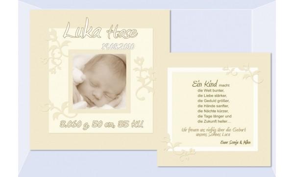 """Babykarte, Danksagung Geburt """"Luka"""", zweiseitig Quadrat"""