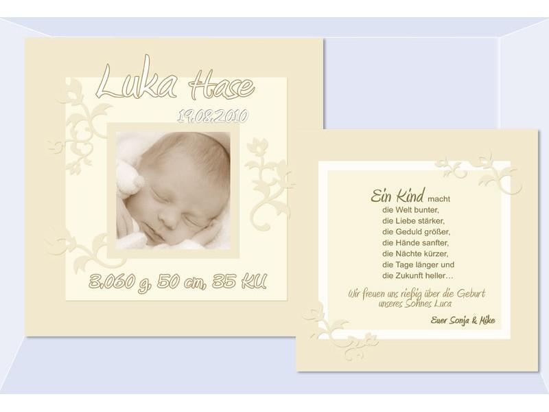 Karte Geburt Danksagungskarte Baby Hellblau