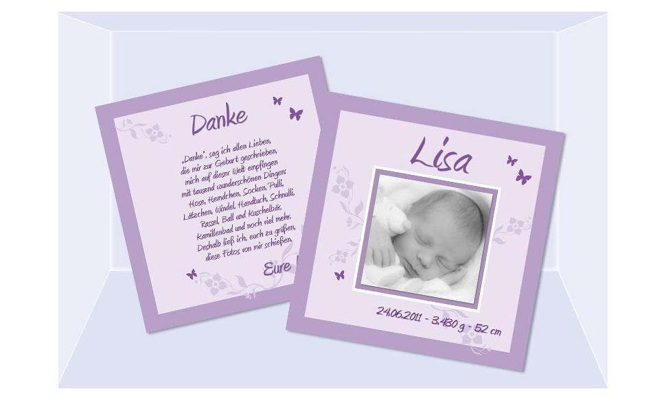 """Babykarte, Danksagung Geburt """"Lisa"""", zweiseitig Quadrat, flieder"""