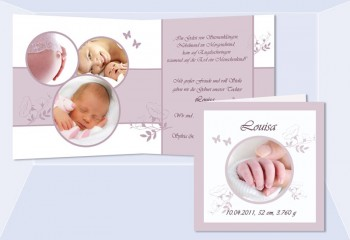 "Geburtskarte ""Louisa"" Klappkarte, quadratisch, rosé, hellblau"