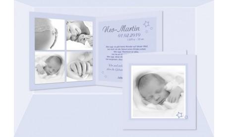 "Geburtskarte ""Neo"" Klappkarte, quadratisch, hellblau, rosa"