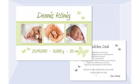 "Danksagung Geburt ""Schmetterling"" 10x15 cm"
