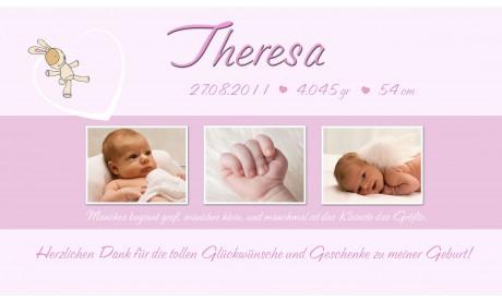 "Danksagung Geburt ""Annabell"", Geburtskarte, 10x18 cm, rosa"