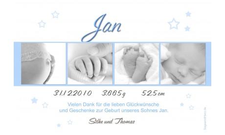 """Danksagung Geburt """"Sternchen"""", Geburtskarte, 10x15 cm"""