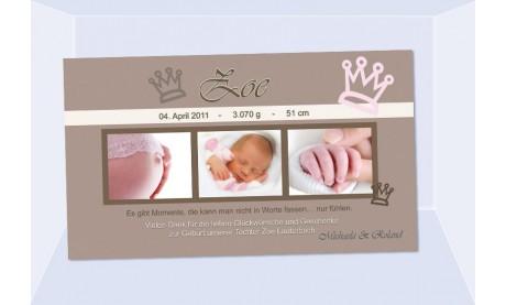 """Danksagungskarte Geburt Baby """"Zoe"""", Krone, Geburtskarte"""