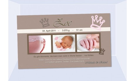 "Danksagungskarte Geburt ""Zoe"", Geburtskarte"