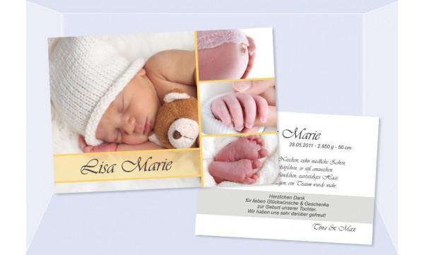 """Babykarte Geburt """"Mosaik"""" 10 x 15 cm zweiseitig"""