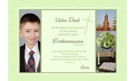 Danksagung Kommunion / Konfirmation, Fotokarte 10x15 cm, grün