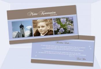 Danksagungskarte Konfirmation Kommunion, braun hellblau