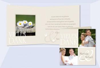 Karte, Danksagungskarte Hochzeit, Klappkarte Quadrat, beige