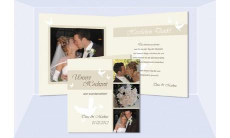 Karte, Danksagungskarte Hochzeit, Klappkarte Quadrat, creme