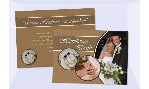 "Danksagungskarte, Karte Hochzeit ""Ping Pong"", braun"