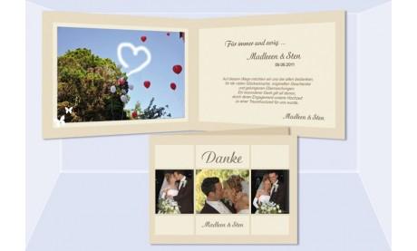 """Dankeskarte Hochzeit """"Karo"""", Klappkarte A6, creme"""