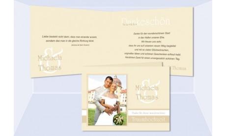 """Dankeskarte Hochzeit """"Edelweiß"""", Klappkarte A6, creme"""