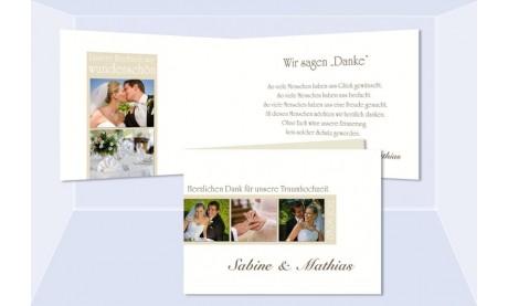 Dankeskarte Hochzeit, Klappkarte A6, weiß creme