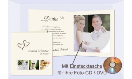 Danksagungskarte Hochzeit XXL mit Foto CD / DVD Einstecktasche