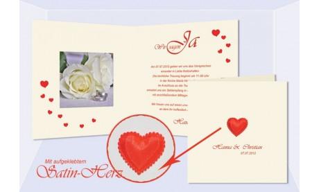 """Einladung Hochzeit """"Satin Herz"""", Klappkarte Quadrat"""