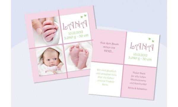 "Babykarte, Danksagung Geburt ""Lana"", rosa"