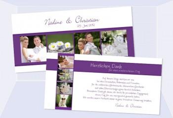 Danksagungskarte Karte Hochzeit, lila