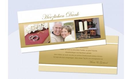 Danksagungskarte, Karte Hochzeit/Goldene Hochzeit, gold