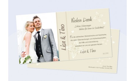 Karte Hochzeit Danksagungskarte DIN Lang quer beige