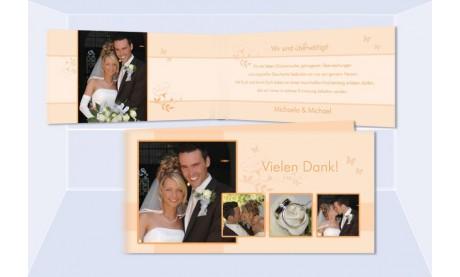 Karte Hochzeit Danksagungskarte DIN Lang, aprikot