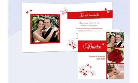 "Karte, Danksagungskarte Hochzeit ""Blumenranke"", Klappkarte Quadrat, rot"