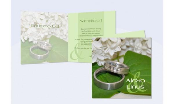 Einladungskarte Hochzeit, Klappkarte Quadrat, Flieder Ringe