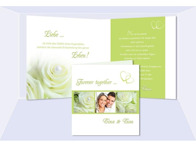Einladungskarte Hochzeit, Klappkarte Quadrat, Grün Creme Rosen