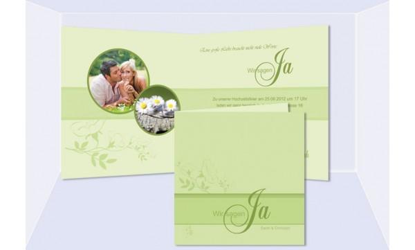 Einladungskarte Hochzeit, Klappkarte Quadrat, grün