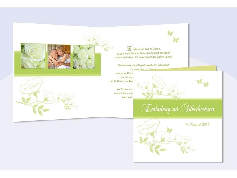 Einladungskarte Hochzeit Silberhochzeit, Klappkarte Quadrat, Grün