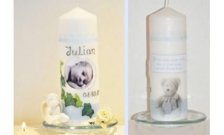 Taufkerze für Ihr Baby mit Foto und Taufspruch, Wachskreation, hellblau