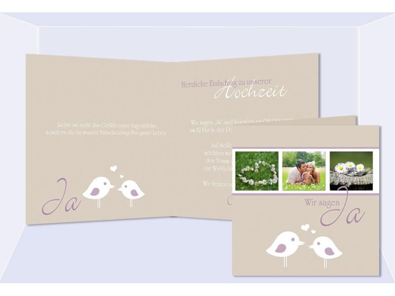 Einladungskarte Hochzeit, Klappkarte Quadrat, Creme Lila Vögelchen