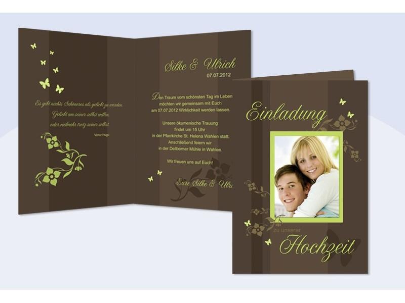 Einladungskarte Hochzeit, Klappkarte A6, braun grün