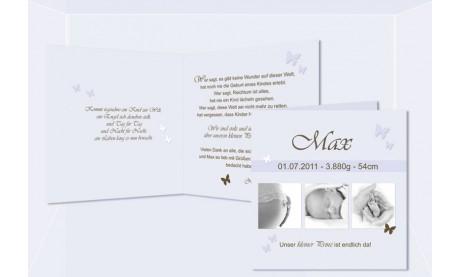 "Geburtskarte ""Max"" Klappkarte 12,5x12,5 cm, hellblau"
