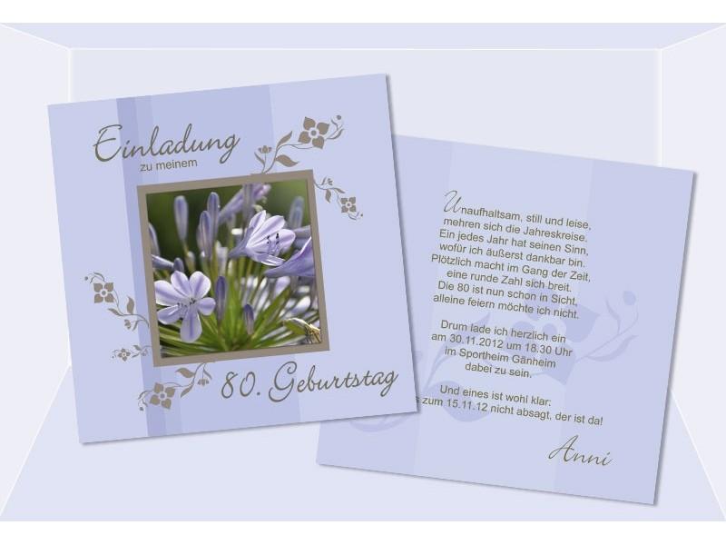 Einladungskarte 50. 60. 70. 80. Geburtstag, zweiseitig flieder
