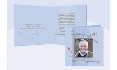Einladung 80. Geburtstag, Klappkarte 12,5x12,5 cm, hellblau