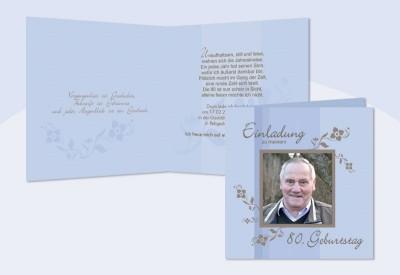 Einladung 80 Geburtstag Klappkarte 12 5x12 5 Cm Hellblau