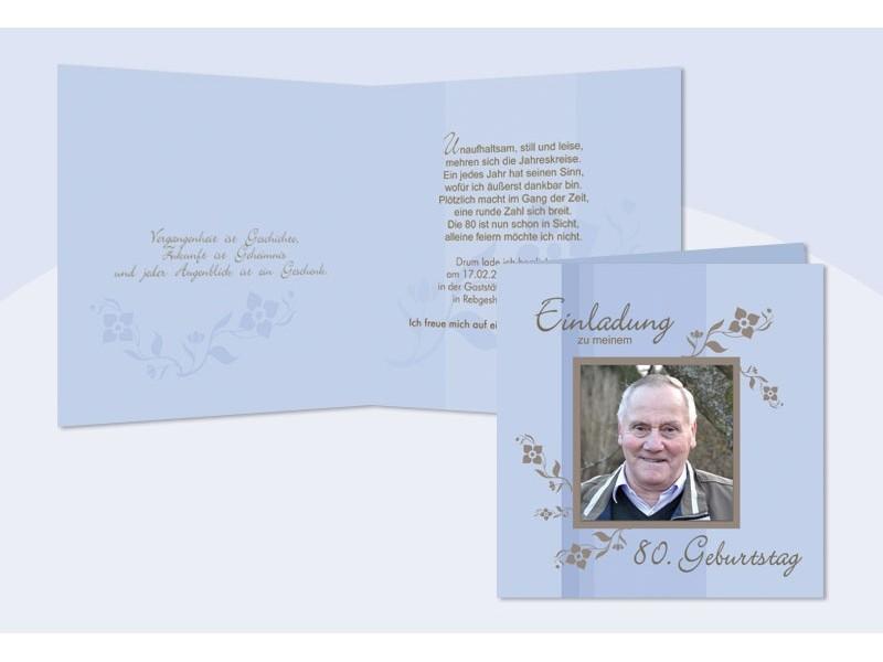 einladung 80. geburtstag, klappkarte 12,5x12,5 cm, hellblau, Einladung