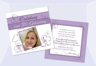 Einladungskarte 30. Geburtstag, Zweiseitig, Quadratisch, Lila, Blumen