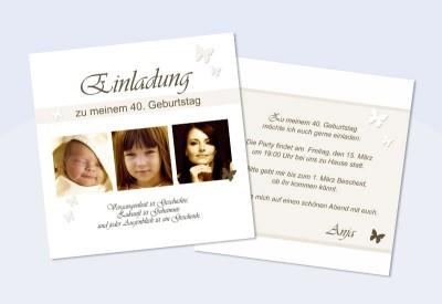 Einladungskarte 30 40 50 60 70 80 Geburtstag Zweiseitig Sepia