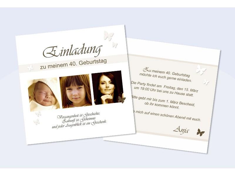 Einladungskarte 40. Geburtstag, zweiseitig, quadratisch, sepia