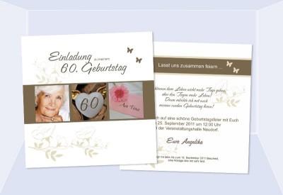 Einladungskarte 60. Geburtstag, zweiseitig, quadratisch, weiß grau
