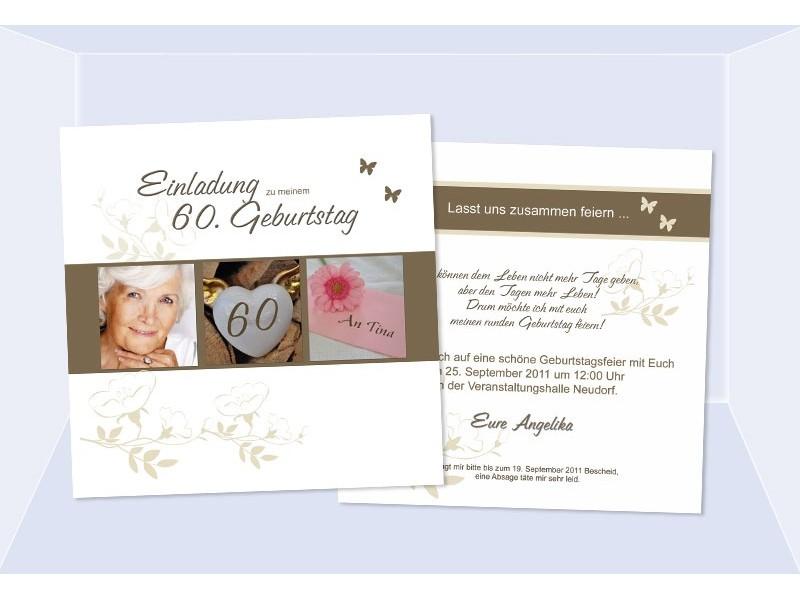 Einladungskarte 30. 40. 50. 60. 70. 80. Geburtstag, zweiseitig weiß graublau