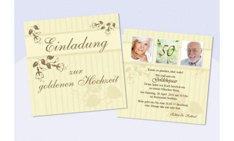 """Einladungskarte Hochzeit """"Gold"""", Flachkarte Quadrat, creme braun"""
