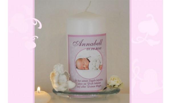Taufkerze für Ihr Baby mit Foto und Taufspruch, Fotogestaltung, rosa