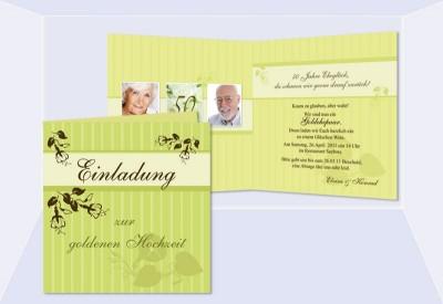 Einladungskarte Hochzeit, Silberhochzeit, Goldene Hochzeit, Klappkarte  Quadrat, Grün