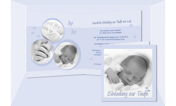 Einladung Taufe, Taufeinladung, Klappkarte 12,5x12,5 cm, hellblau, Luis